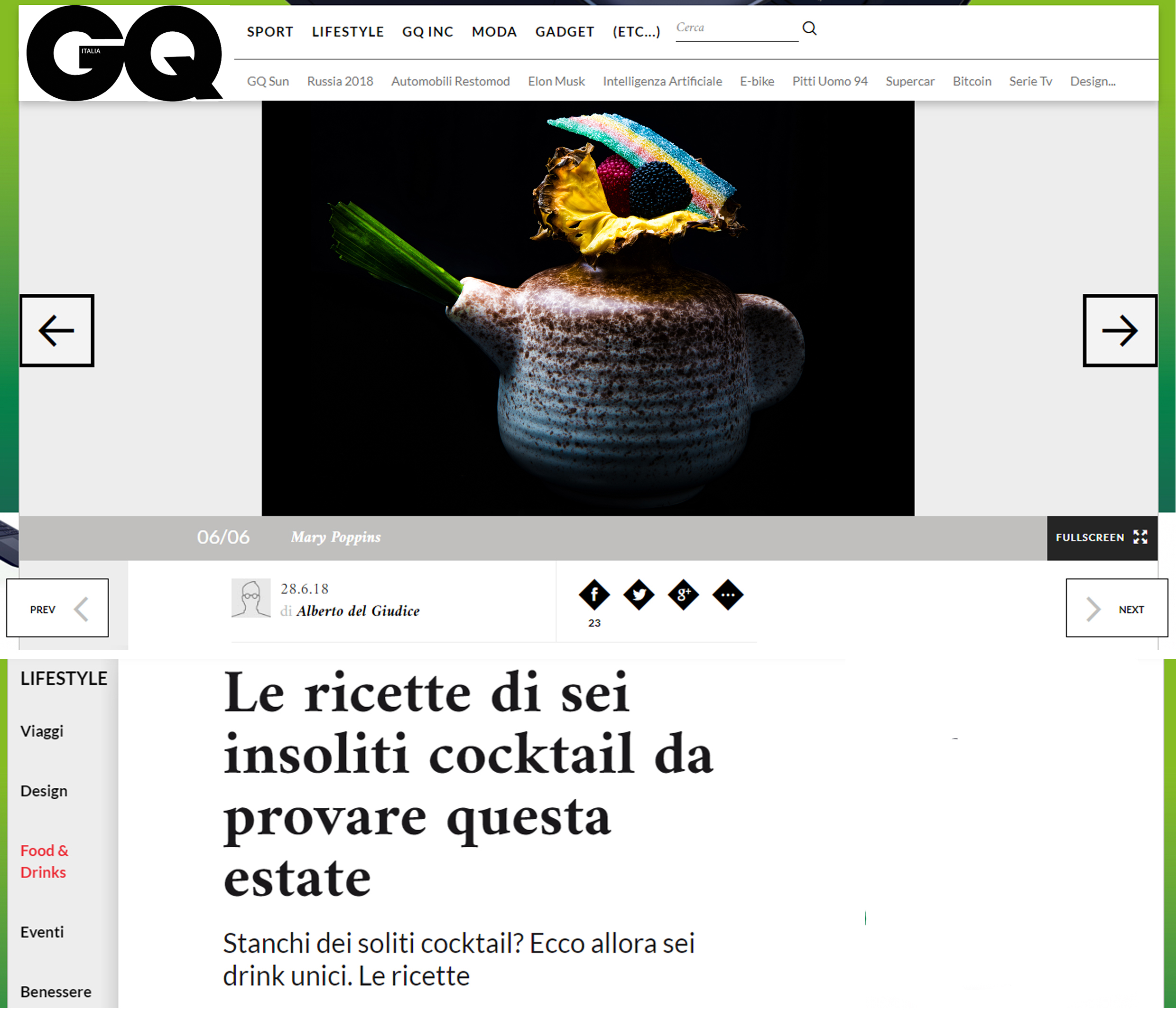 Magazine GQ Italia il Mary Poppins Cocktail