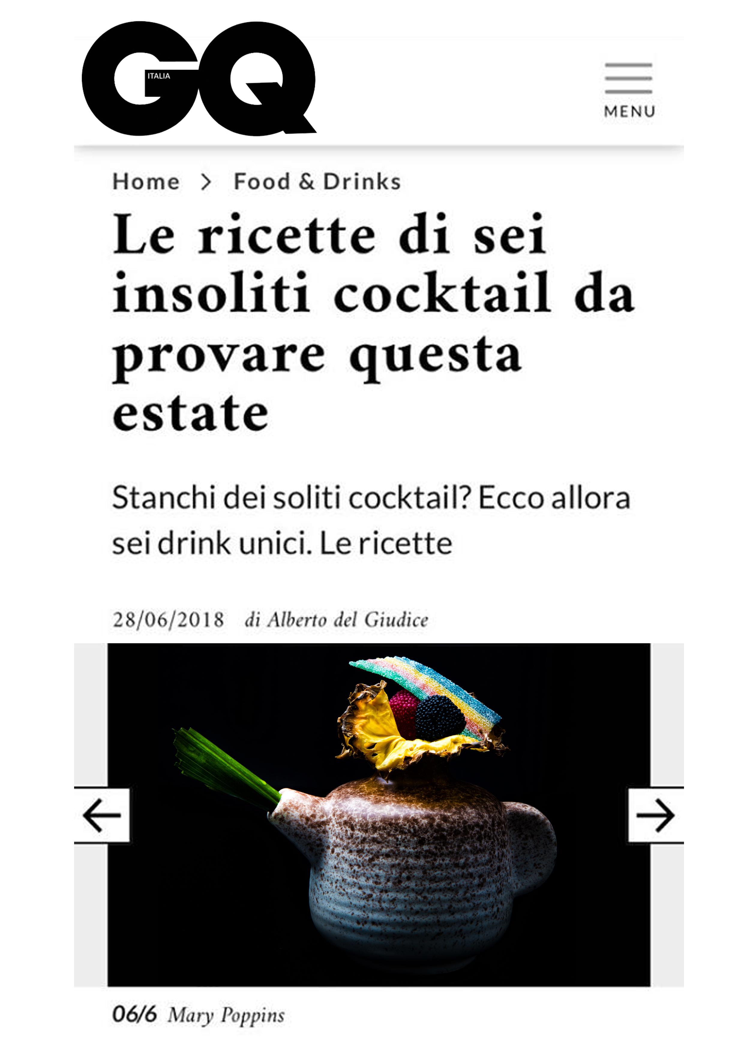 GQ Italia il Cocktail Mary Poppins di Fabio Camboni bartender